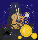 Time is money. Color illustration with elements of a clockwork and gold coins stock illustration