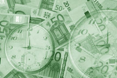 Time is money. A lot of money(euro bank-notes Royalty Free Stock Photo