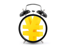 Time is money. Alarm clock with yen symbol. Stock Images