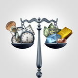 Time And Money. As a business concept as a scale with clocks calendar and hourglass objects versus wealth symbols as diamonds currency pearls and gold as a 3D stock illustration