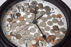 Time is money background. A clock and some money background Royalty Free Stock Images