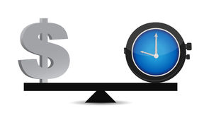 Time and money on a balance Royalty Free Stock Photos