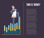 Time is money banner with businessman Stock Image