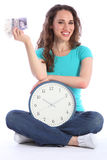 Time is money beautiful smiling woman with clock Royalty Free Stock Photography