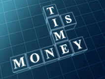 Time is money in blue glass blocks Stock Images