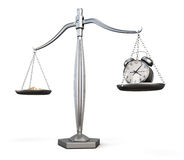 Time is money. Business concept. 3d. Time is money. Business concept. Watch and money on scales. 3d illustration Stock Photo