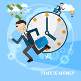 Time is money business concept vector card. Running man over business vector background royalty free illustration
