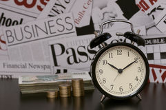 Time is money, business, financial metaphor, clock, coin Royalty Free Stock Image