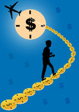 Time is money. Businessman chasing time.Vector illustration royalty free illustration