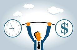 Time is money, businessman weightlifting. Businessman wear blue suit Royalty Free Stock Image