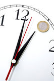 Time is money clock. Face of clock with Euro coin for number one, time is money concept Royalty Free Stock Images