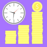 Time is money. Clock with coin stock. Money stock and time, coin investment and clock banking. Vector flat design illustration Stock Image