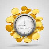Time money, clock with coins objects. Vector illustration Royalty Free Stock Photos