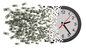 Time Is Money. Clock Falling Apart To Dollars. 3D Illustration Royalty Free Stock Photo