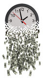 Time Is Money. Clock Falling Apart To Dollars. Royalty Free Stock Photography