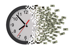 Time Is Money. Clock Falling Apart To Dollars. 3D Model Stock Photos