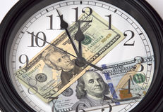 Time is money. A clock and some money background Royalty Free Stock Photography