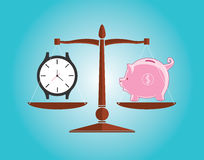 Time is money. With clock watch and piggy bank vector illustration Royalty Free Stock Photos