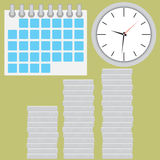 Time is money. Coin silver stock with clock. Coin silver and clock time. Stock finance money investment in time. Vector flat design illustration Stock Images