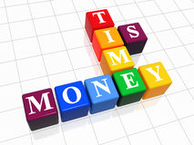 Time is money colour. 3d colour boxes with text - time is money stock illustration