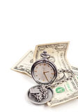Time is Money Concept. Pocket Watch with American Money Royalty Free Stock Photos