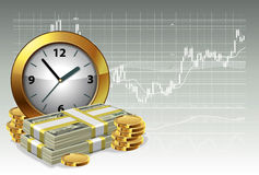 Time is money concept. Clock and money on a background of the exchange graph. Time is money concept. Vector illustration Royalty Free Stock Photos