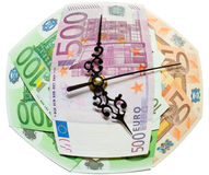 Time is money concept. The Time is money concept made with euros and clock hands Royalty Free Stock Photos