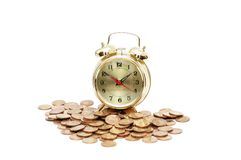 Time is money concept. With clock  and coins Stock Photo