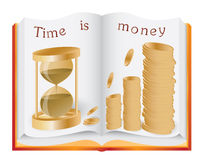 Time is money concept. Opened book illustrating time is money concept Stock Photography