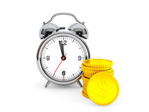 Time is Money concept. Alarm Clock with golden coin Stock Photo