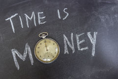Time is Money. Concept on chalk table whit an old pocket watch Stock Photo