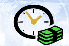 Time is money concept. With clock, banknotes and world map background Royalty Free Stock Images