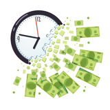 Time is money concept. Clock breaking apart. In cash chunks. Dollar banknotes falling and flying away. Business project deadline due date. Flat style vector Stock Images