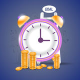 Time is Money concept with clock and coins. Stock Image