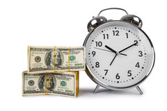 Time is money concept with clock Stock Photos