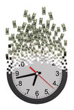 Time Is Money Concept. Clock Falling Apart To Dollars. 3D Model Stock Images
