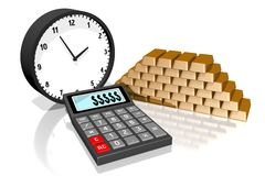 Time is money concept. 3D calculator concept - on white background Royalty Free Stock Images