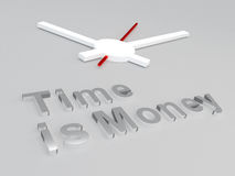 Time is Money concept. 3D illustration of Time is Money title with a clock as a background Royalty Free Stock Photography