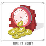 Time is money concept 3d isometric infographic. With clock dropping coins Royalty Free Stock Photo
