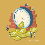 Time is money concept. Flat 3d isometric design of time is money concept Royalty Free Stock Photos