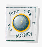 Time is money concept with a gold watch on a white background. V. Ector illustration Stock Photo