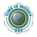 Time is money concept with a gold watch on a white background. V. Ector illustration Royalty Free Stock Image