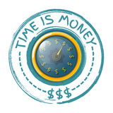 Time is money concept with a gold watch on a white background. V. Ector illustration Royalty Free Stock Photos