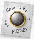 Time is money concept with a gold watch. On a white background. Vector illustration Stock Photos