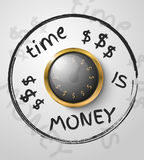 Time is money concept with a gold watch. On a white background. Vector illustration Royalty Free Stock Images