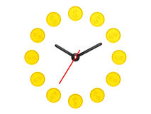 Time is money concept. Golden coin as clock Royalty Free Stock Photo