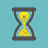Time is Money concept with golden coins and bag of money in a ho. Urglass. Vector illustration Stock Photo
