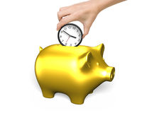 Time is money concept. Hand putting the clock into golden piggy bank,  on white background. Time is money concept Royalty Free Stock Image