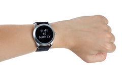 Time is money concept. A hand wearing a black wrist watch. Time is money concept Stock Images