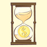 Time is money concept, hourglass cartoon illustration with dollar. Sandglass, retro style,  image Stock Photography